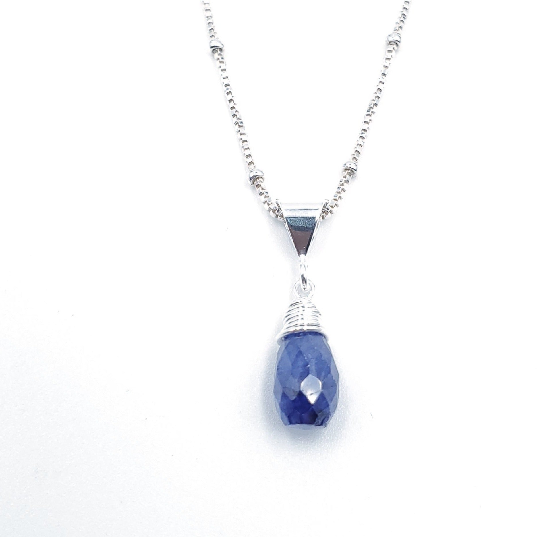 Blue sapphire teardrop faceted silver necklace