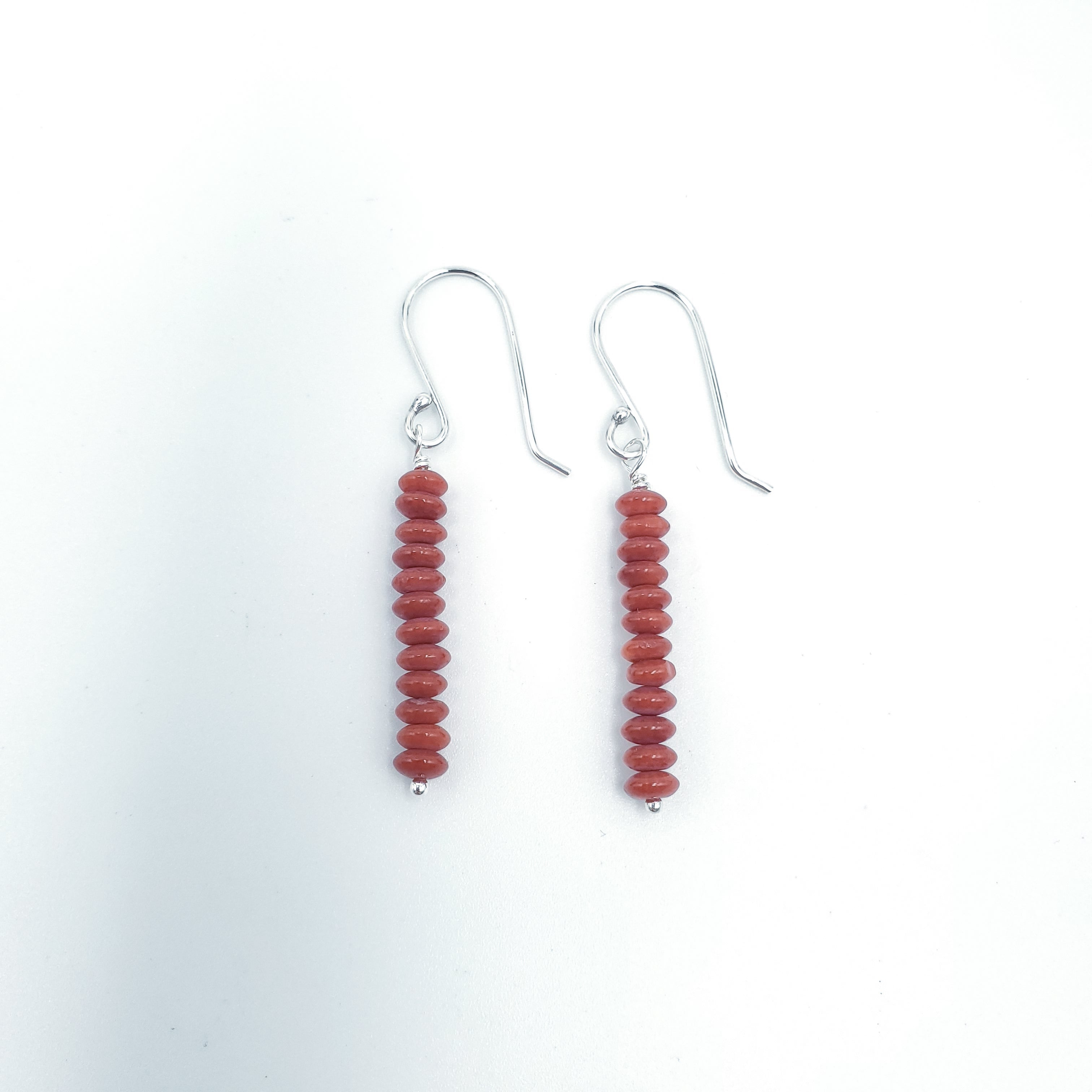 Red coral stacked silver earrings