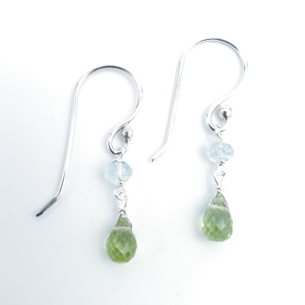 Faceted small blue topaz beads with teardrop green peridot beads below - earrings