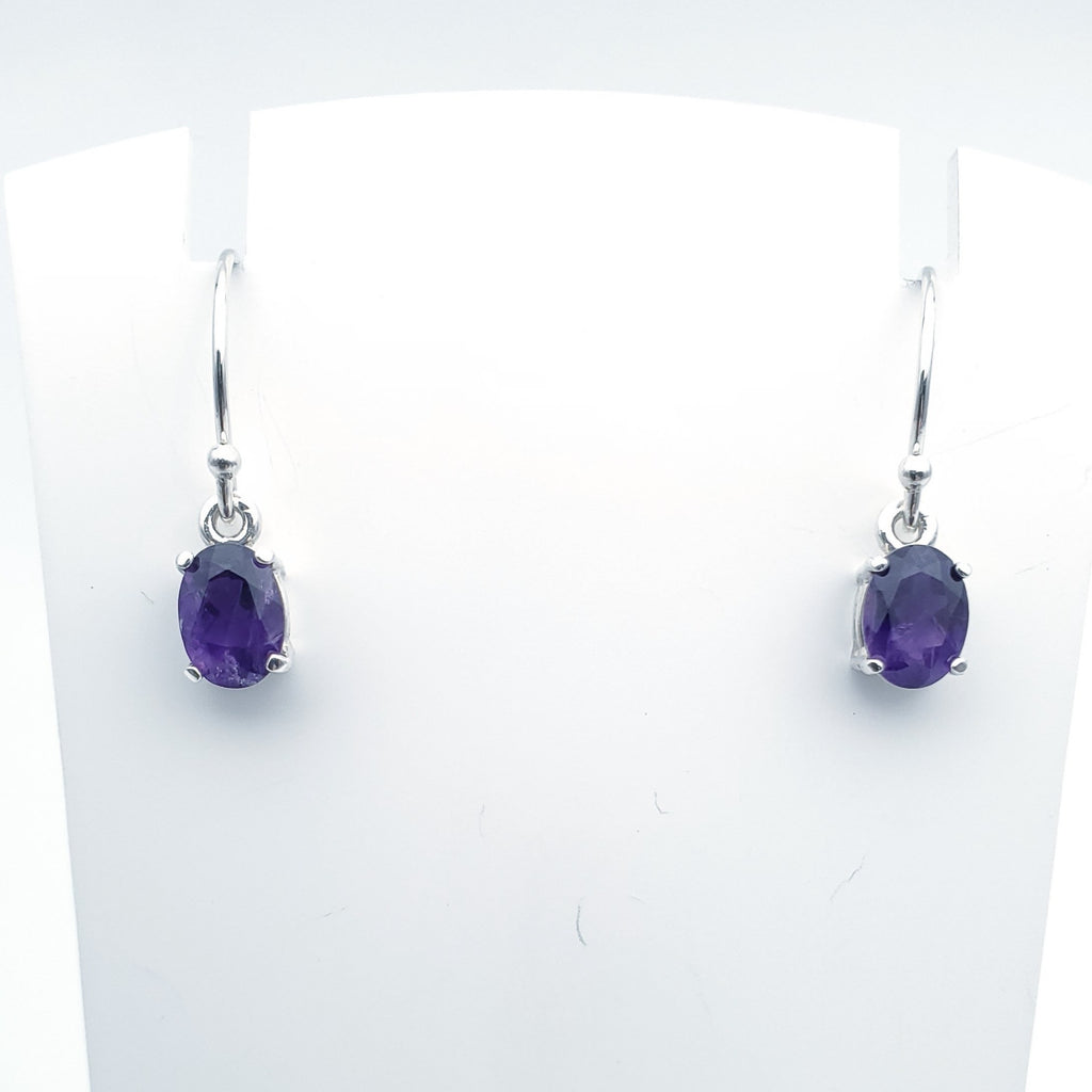oval purple amethyst prong set dangle earrings