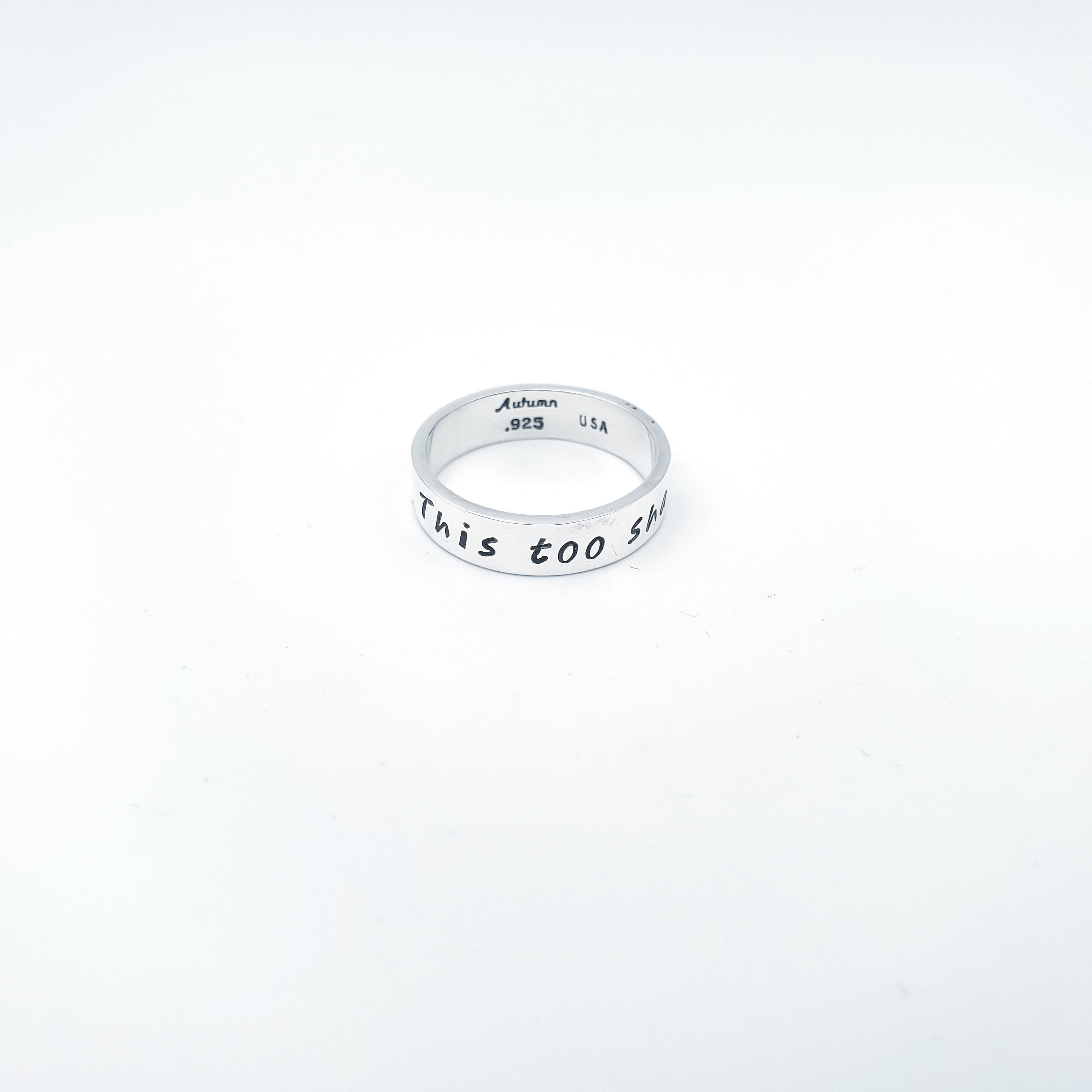 Silver band with hand stamped words