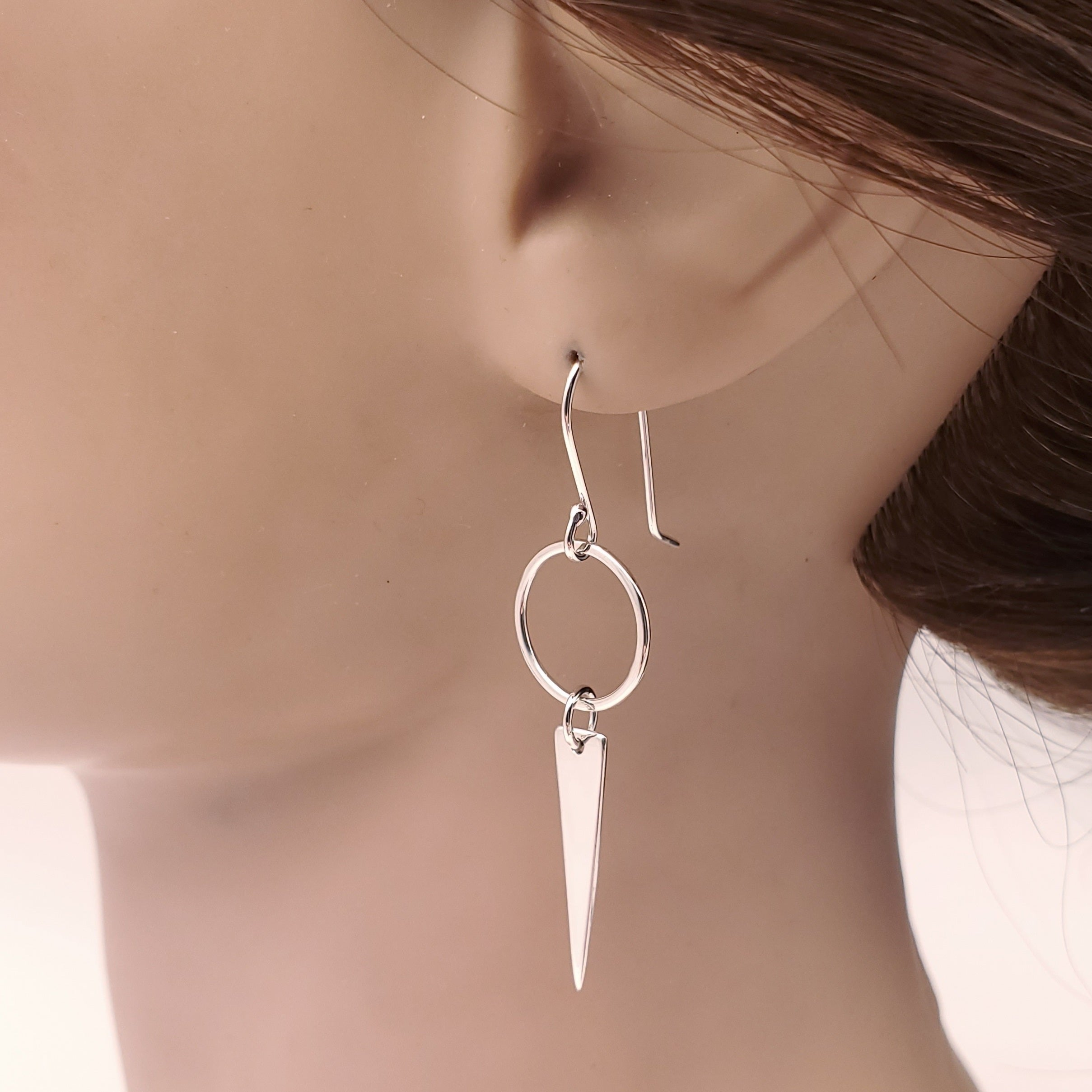Circle and triangle sterling silver dangle earrings