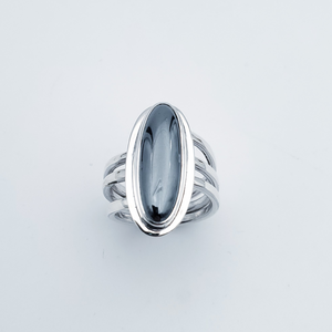 Long oval hematite silver triple band ring