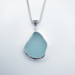 Large aqua sea glass bezel set necklace