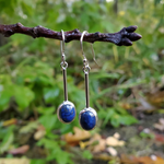 Long dangle lapis earrings hanging from branch