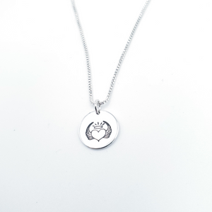 Circle pendant silver with angel wings with heart in the middle and halo above necklace