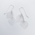 Two leaf silver dangle earrings