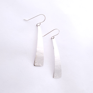 Long tapered rectangle silver textured dangle earrings