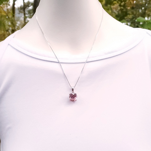 Pink faceted oval cubic zirconia sterling silver prong set necklace