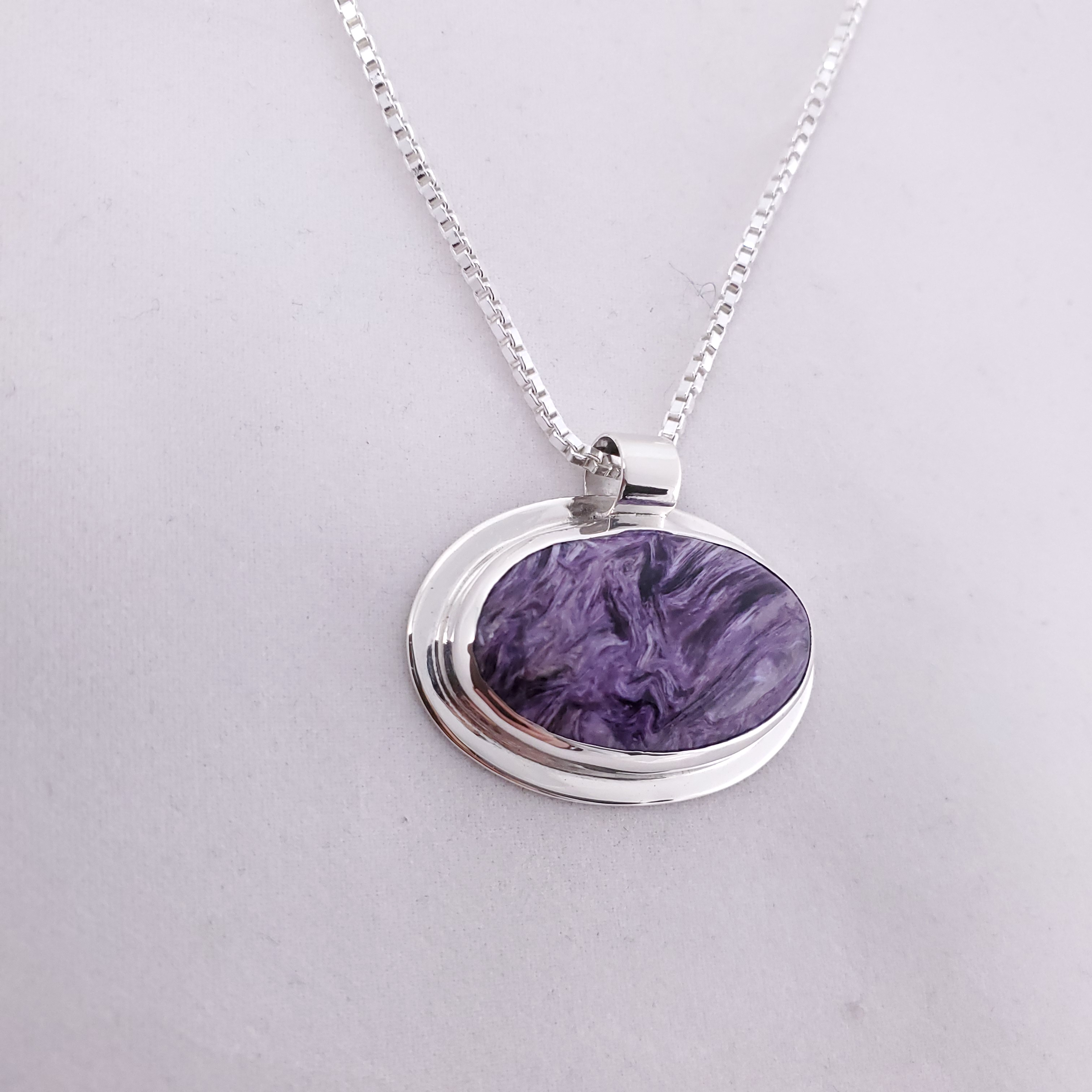 Sterling silver purple charoite oval necklace