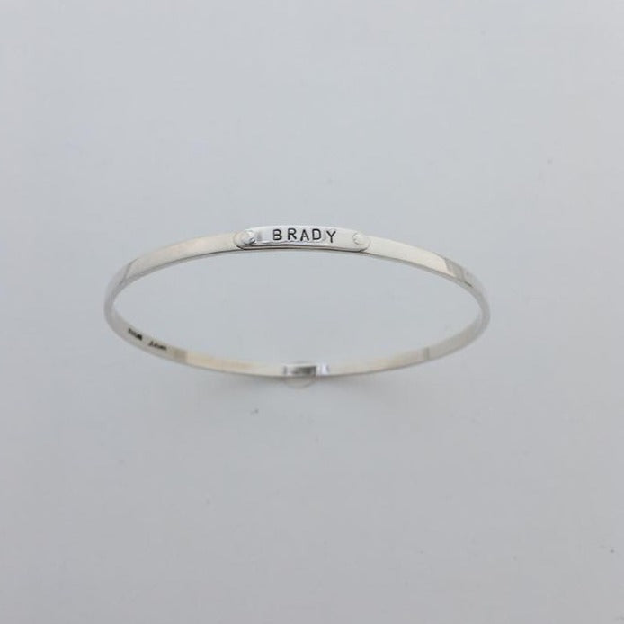 Silver bangle bracelet with name BRADY