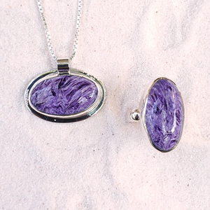 Oval purple charoite and sterling silver necklace and ring set