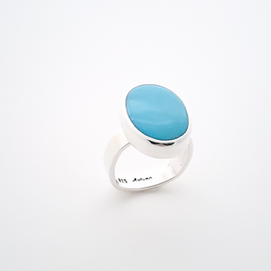 Oval turquoise sterling silver square shank ring