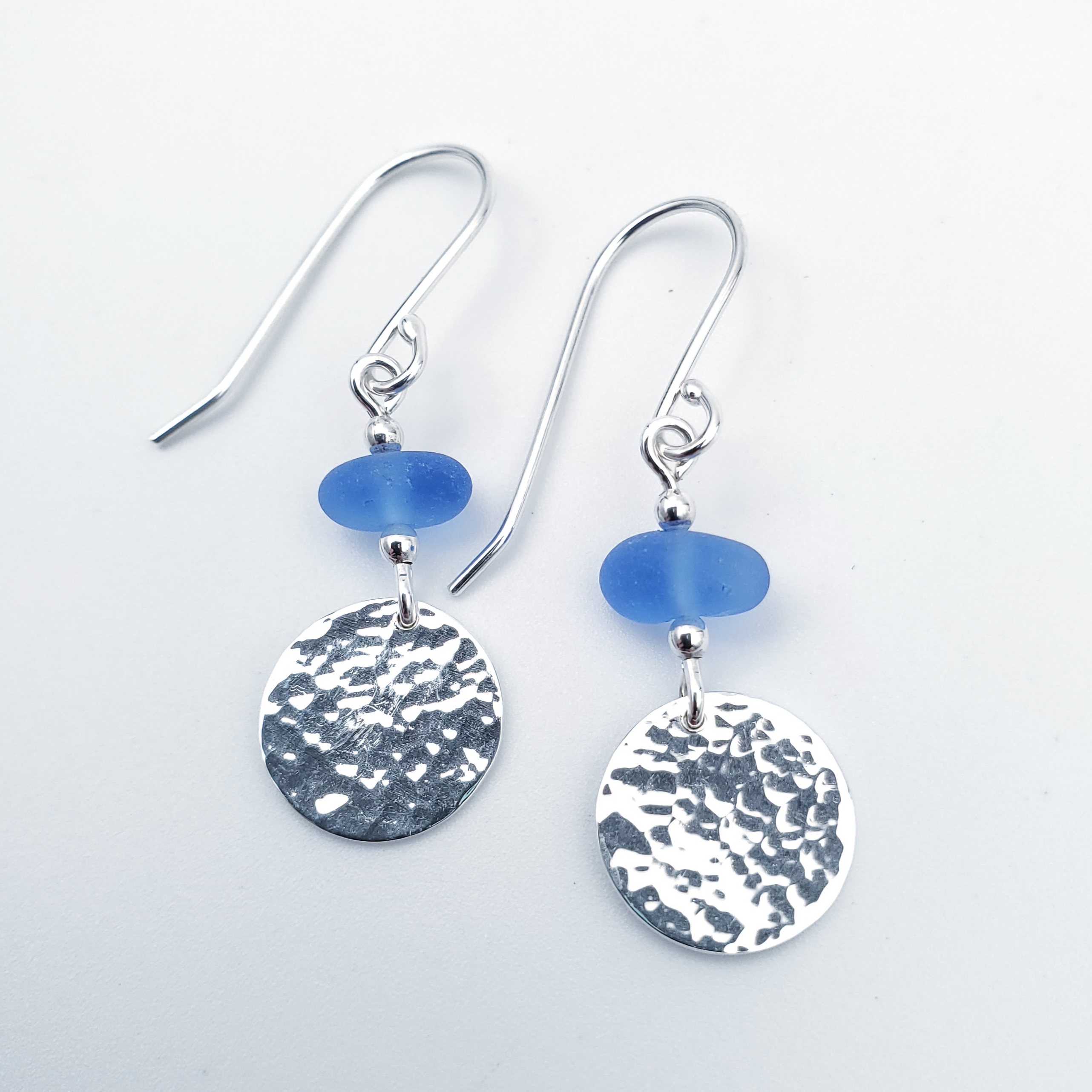 Blue sea glass and hammered sterling silver earrings
