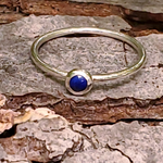 Thin silver lapis ring