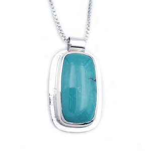 Rectangular turquoise and silver bezel set necklace