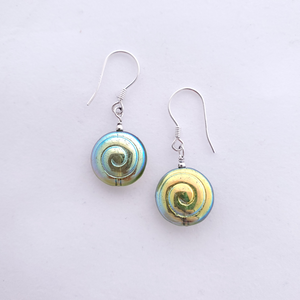 Green spiral bead earrings sterling silver