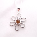 Sterling silver daisy amber necklace