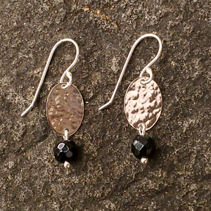 Hammered silver and black onyx dangle earrings
