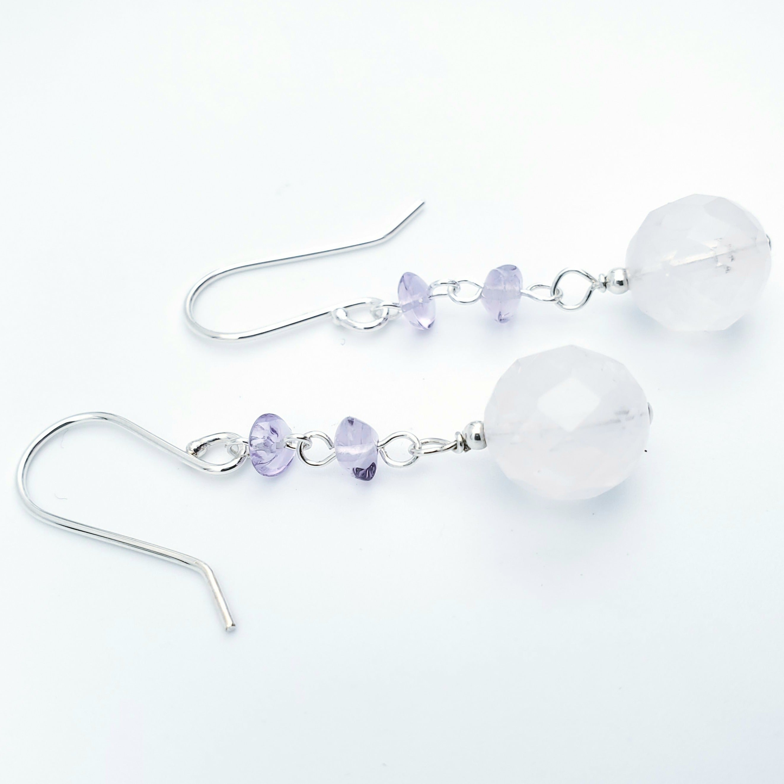 Rose quartz and amethyst dangle earrings silver