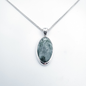 Green seraphinite silver necklace with leaf accent