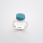 Square bezel set turquoise square shank ring