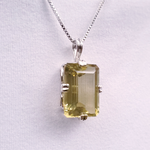 Rectangle shaped prong set silver citrine necklace