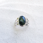 Dark green jade silver ring