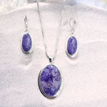 Purple charoite necklace and earrings sterling silver matching set