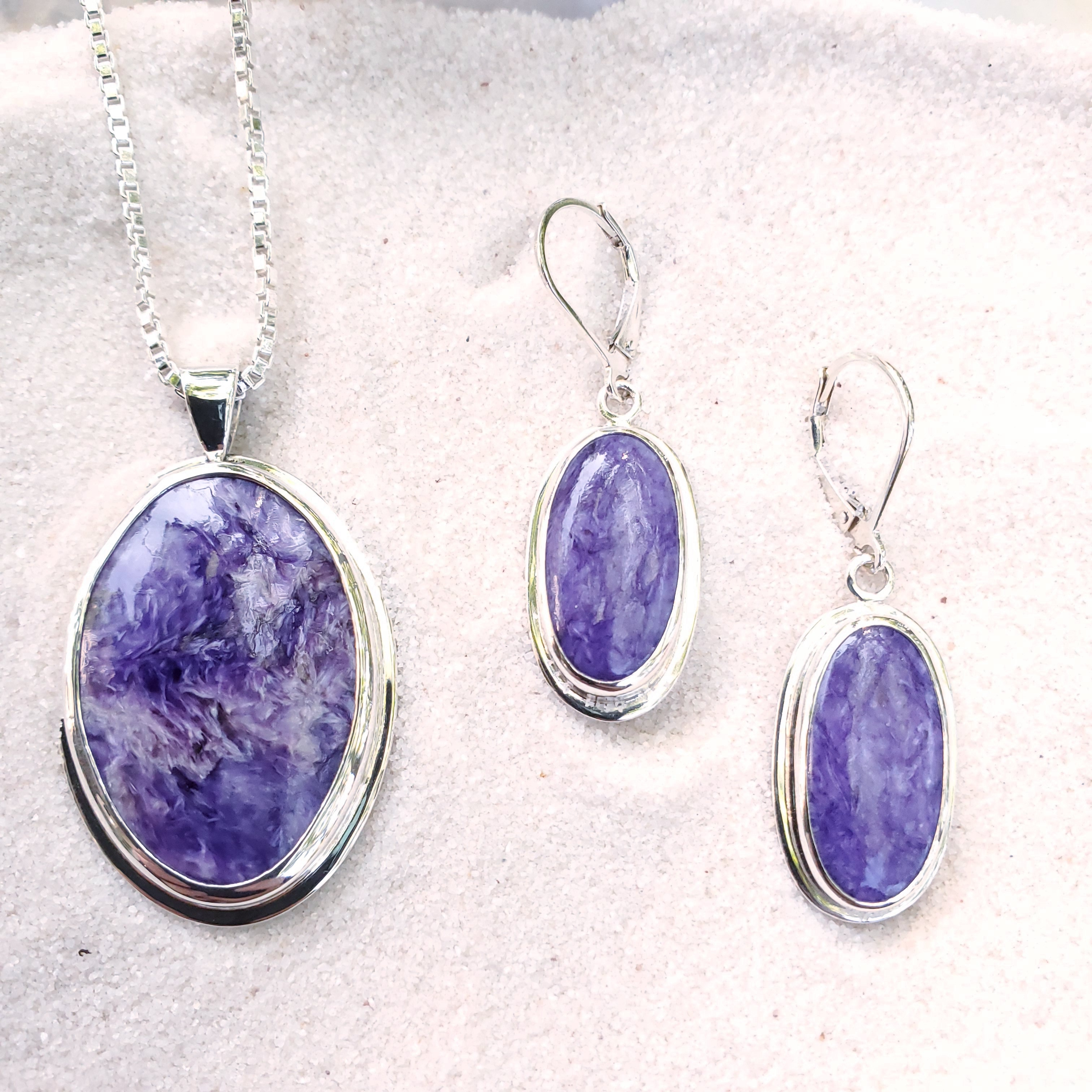Purple Charoite necklace and earring set