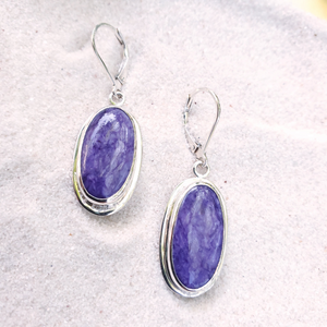 Purple charoite sterling silver dangle earrings