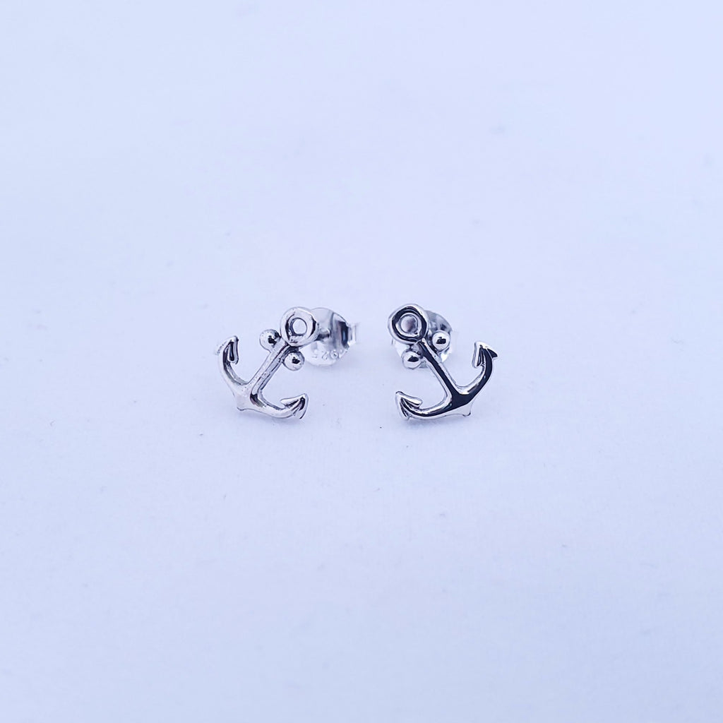 Anchor silver post earrings