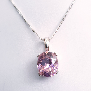 Pink oval faceted prong set silver necklace