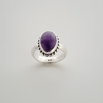 Sterling silver and amethyst ring standing up