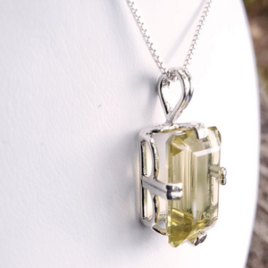 Rectangular faceted yellow citrine gemstone prong set silver necklace