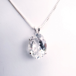 Oval faceted white topaz prong set necklace