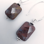 Brownish agate rectangle beaded earrings