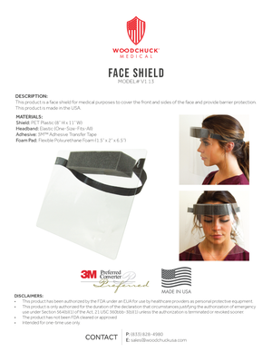 Clear Face Shield with Elastic Band - V1.13, Case of 110
