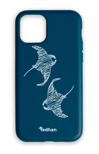 Eco Friendly iPhone 11 Pro Phone Case - Flowing Rays in Navy Blue
