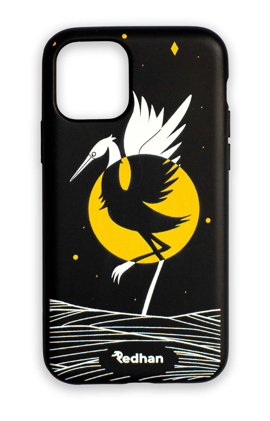 Eco Friendly iPhone 11 Phone Case - Grey Heron in Pitch Black