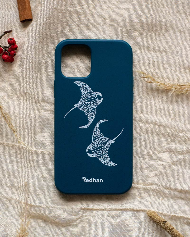 Eco Friendly iPhone 12 / 12 Pro Phone Case - Flowing Rays in Navy Blue