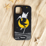 Eco Friendly iPhone 12 Mini Phone Case - Grey Heron in Pitch Black