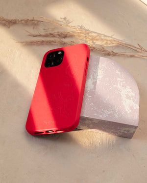 Eco Friendly iPhone 12 Mini Phone Case - 'Hirigaa' or Stone Art in Ruby Red