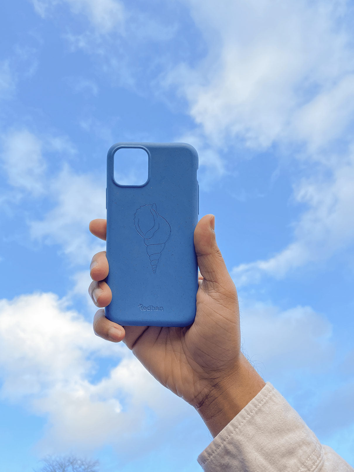 Eco Friendly iPhone 11 Pro Max Phone Case - 'Sangu' or Triton Shell in Sapphire Blue