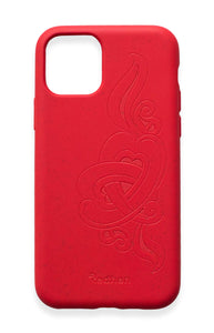 Eco Friendly iPhone 11 Phone Case - 'Hirigaa' or Stone Art in Ruby Red