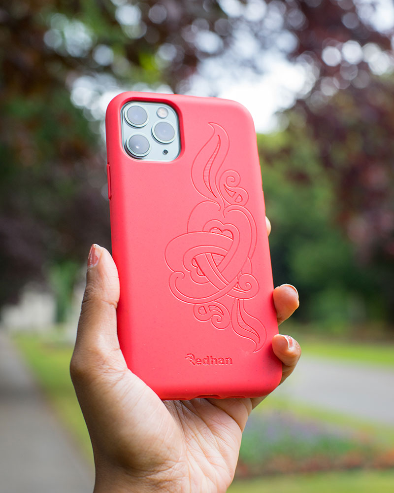 Eco Friendly iPhone 11 Pro Phone Case - 'Hirigaa' or Stone Art in Ruby Red