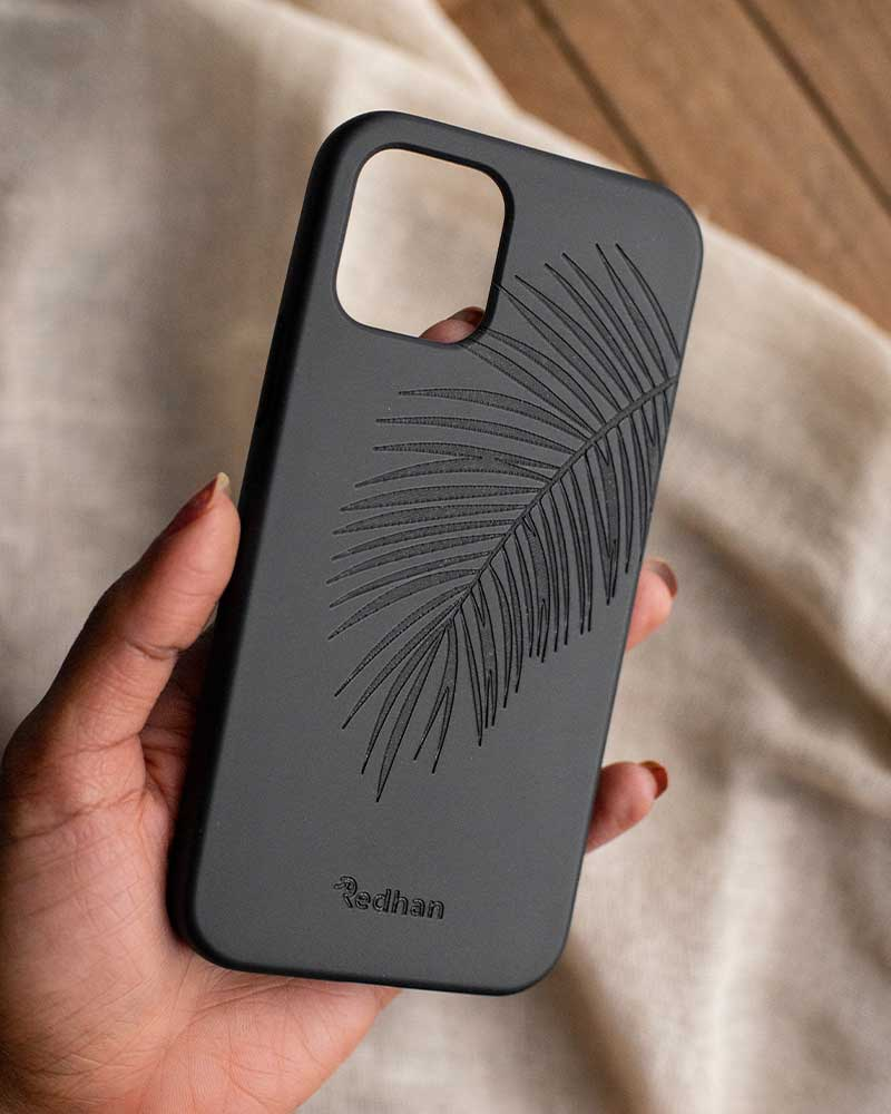 Eco Friendly iPhone 12 Pro Max Phone Case - Palm Leaf in Pitch Black