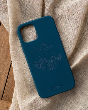 Eco Friendly iPhone 12 Pro Max Phone Case - Manta Ray in Navy Blue