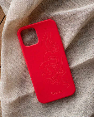 Eco Friendly iPhone 12 / 12 Pro Phone Case - 'Hirigaa' or Stone Art in Ruby Red