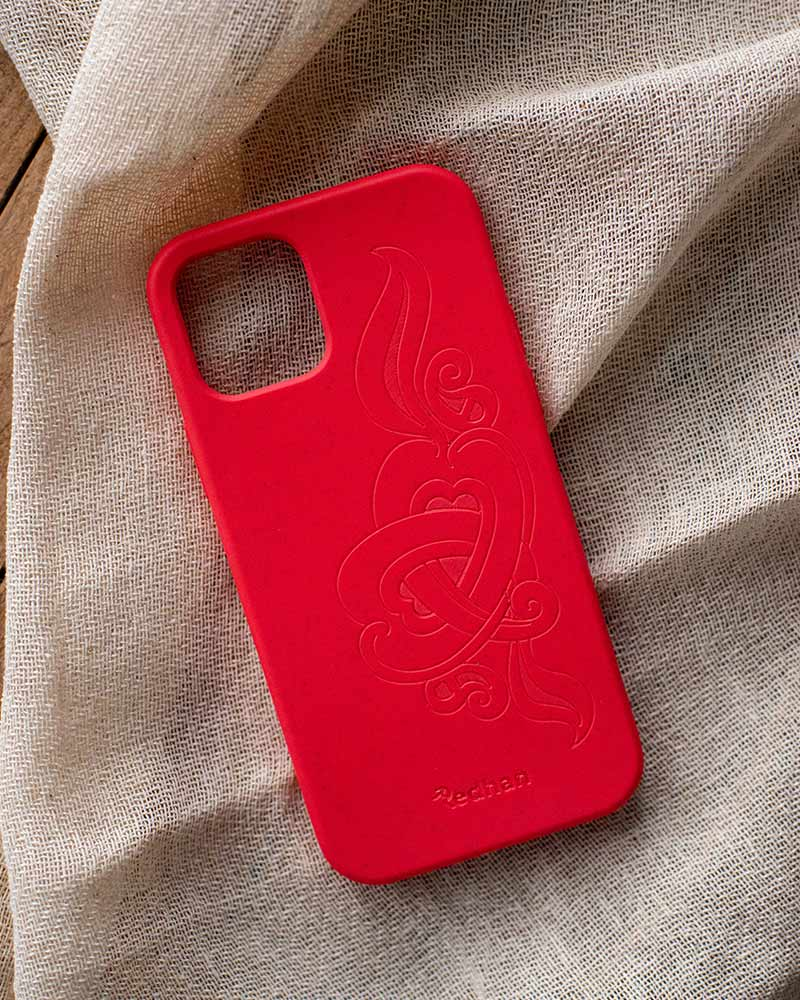 Eco Friendly iPhone 12 Pro Max Phone Case - 'Hirigaa' or Stone Art in Ruby Red